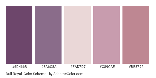 Dull Royal - Color scheme palette thumbnail - #6d466b #8a6c8a #ead7d7 #c89cae #be8792