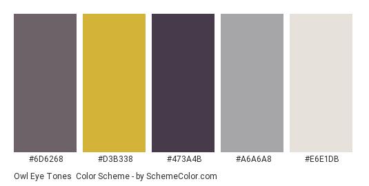 Owl Eye Tones - Color scheme palette thumbnail - #6d6268 #d3b338 #473a4b #a6a6a8 #e6e1db