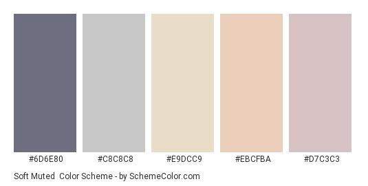Soft Muted - Color scheme palette thumbnail - #6d6e80 #c8c8c8 #e9dcc9 #ebcfba #d7c3c3