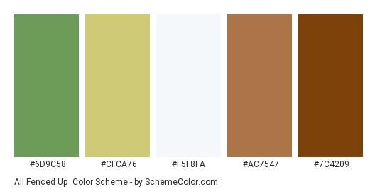 All Fenced Up - Color scheme palette thumbnail - #6d9c58 #cfca76 #f5f8fa #ac7547 #7c4209