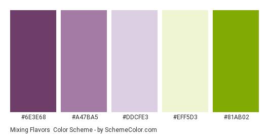 Mixing Flavors - Color scheme palette thumbnail - #6e3e68 #a47ba5 #ddcfe3 #eff5d3 #81ab02