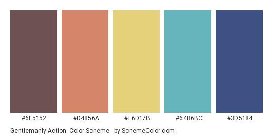 Gentlemanly Action - Color scheme palette thumbnail - #6e5152 #d4856a #e6d17b #64b6bc #3d5184