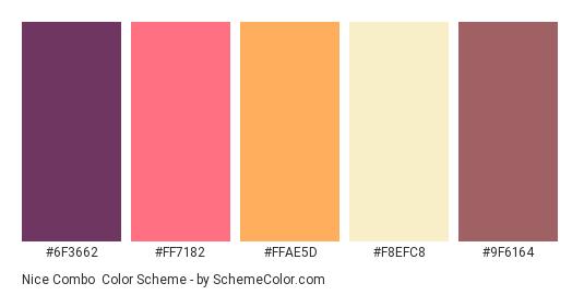 Nice Combo - Color scheme palette thumbnail - #6f3662 #ff7182 #ffae5d #F8EFC8 #9f6164