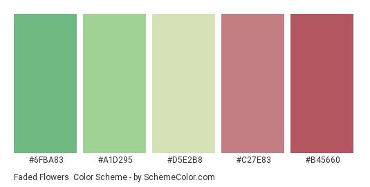 Faded Flowers - Color scheme palette thumbnail - #6fba83 #a1d295 #d5e2b8 #c27e83 #b45660