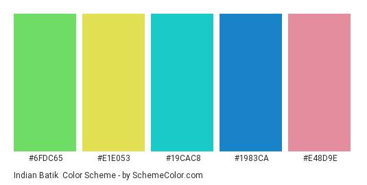 Indian Batik - Color scheme palette thumbnail - #6fdc65 #e1e053 #19cac8 #1983ca #e48d9e