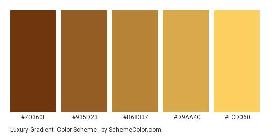 Luxury Gradient - Color scheme palette thumbnail - #70360E #935D23 #B68337 #D9AA4C #FCD060