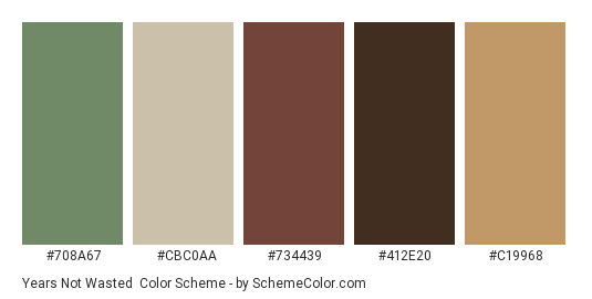 Years Not Wasted - Color scheme palette thumbnail - #708a67 #cbc0aa #734439 #412e20 #c19968