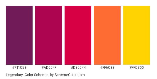 Legendary - Color scheme palette thumbnail - #711C58 #AD054F #D80044 #FF6C33 #FFD300