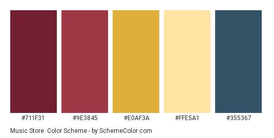 Music Store - Color scheme palette thumbnail - #711F31 #9E3845 #E0AF3A #FFE5A1 #355367