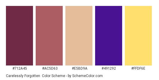 Carelessly Forgotten - Color scheme palette thumbnail - #712a45 #ac5d63 #e5bd9a #491292 #ffdf6e