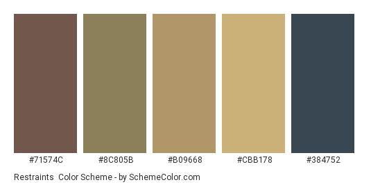 Restraints - Color scheme palette thumbnail - #71574C #8C805B #B09668 #CBB178 #384752