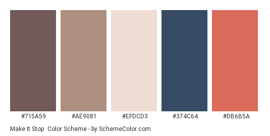 Make It Stop - Color scheme palette thumbnail - #715A59 #AE9081 #EFDCD3 #374C64 #DB6B5A