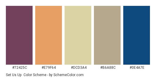 Set Us Up - Color scheme palette thumbnail - #72425c #e79f64 #dcd3a4 #b6a88c #0e4a7e