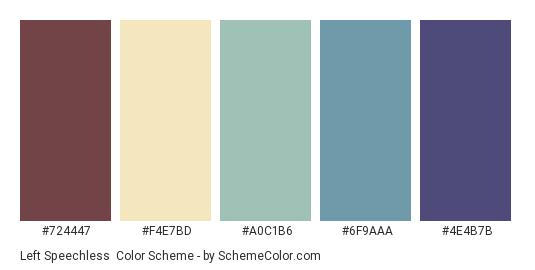Left Speechless - Color scheme palette thumbnail - #724447 #F4E7BD #A0C1B6 #6F9AAA #4E4B7B