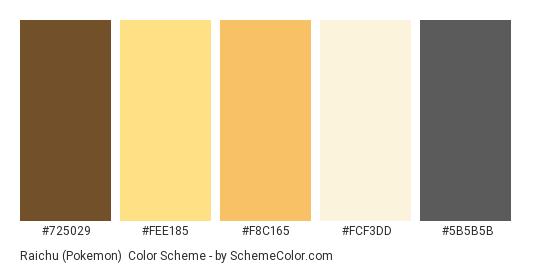 Raichu (Pokemon) - Color scheme palette thumbnail - #725029 #fee185 #f8c165 #fcf3dd #5b5b5b