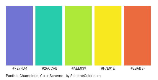Panther Chameleon - Color scheme palette thumbnail - #7274D4 #26CCAB #AEE839 #F7E91E #EB6B3F