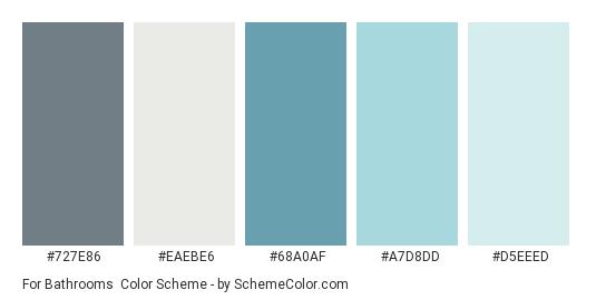 For Bathrooms - Color scheme palette thumbnail - #727E86 #EAEBE6 #68A0AF #A7D8DD #D5EEED