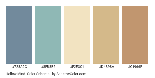 Hollow Mind - Color scheme palette thumbnail - #728a9c #8FB8B5 #F2E3C1 #D4B98A #C1966F