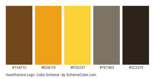 Hearthstone Logo - Color scheme palette thumbnail - #73471C #EDA115 #FCD237 #7E7463 #2C2319