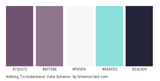 Nothing to Understand - Color scheme palette thumbnail - #735372 #8F758E #F6F6F6 #8ADFDC #242439