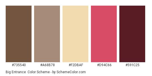 Big Entrance - Color scheme palette thumbnail - #735540 #A68B78 #F2DBAF #D94C66 #591C25