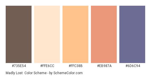 Madly Lost - Color scheme palette thumbnail - #735E54 #FFE6CC #FFC38B #EB987A #6D6C94