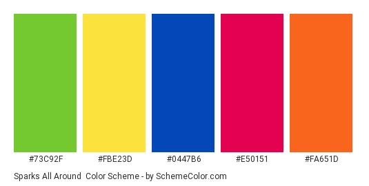 Sparks All Around - Color scheme palette thumbnail - #73c92f #fbe23d #0447b6 #e50151 #fa651d
