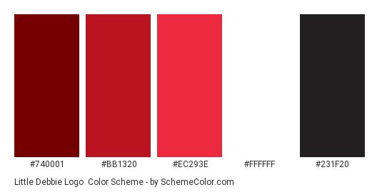 Little Debbie Logo - Color scheme palette thumbnail - #740001 #BB1320 #EC293E #FFFFFF #231F20