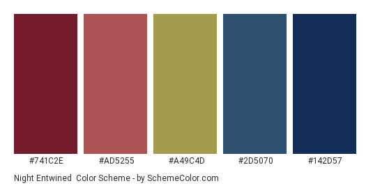 Night Entwined - Color scheme palette thumbnail - #741c2e #ad5255 #a49c4d #2d5070 #142d57