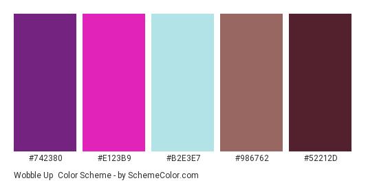 Wobble Up - Color scheme palette thumbnail - #742380 #E123B9 #B2E3E7 #986762 #52212D