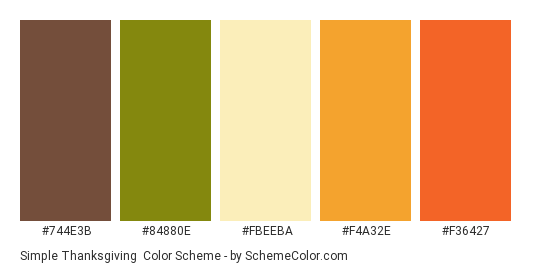 Simple Thanksgiving - Color scheme palette thumbnail - #744e3b #84880e #fbeeba #f4a32e #f36427