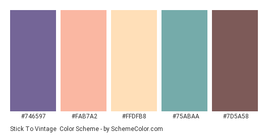Stick to Vintage - Color scheme palette thumbnail - #746597 #FAB7A2 #FFDFB8 #75ABAA #7D5A58