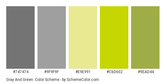 Gray And Green Color Scheme Palette Thumbnail 747474 9f9f9f E9e991