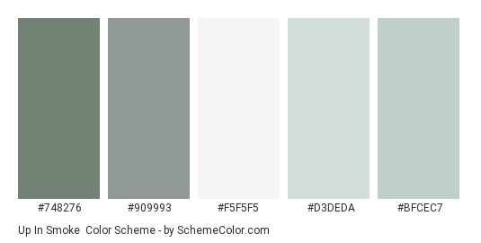 Up In Smoke - Color scheme palette thumbnail - #748276 #909993 #f5f5f5 #d3deda #bfcec7