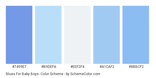 Blues for Baby Boys - Color scheme palette thumbnail - #7499E7 #B9DEFA #eef2f4 #A1CAF2 #8BBCF2