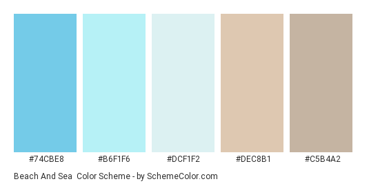 Beach and Sea - Color scheme palette thumbnail - #74CBE8 #B6F1F6 #DCF1F2 #DEC8B1 #C5B4A2