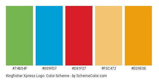 Kingfisher Xpress Logo - Color scheme palette thumbnail - #74b54f #009fd7 #d81f27 #f3c472 #ed9e0e