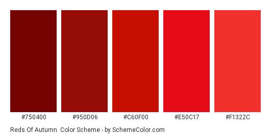 Reds of Autumn - Color scheme palette thumbnail - #750400 #950d06 #c60f00 #e50c17 #f1322c