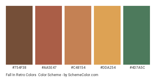 Fall in Retro Colors - Color scheme palette thumbnail - #754F38 #AA5E47 #C48154 #DDA254 #4D7A5C
