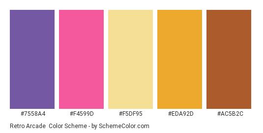 Retro Arcade - Color scheme palette thumbnail - #7558A4 #F4599D #F5DF95 #EDA92D #AC5B2C