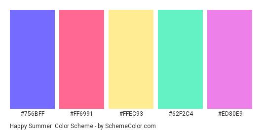 Happy Summer - Color scheme palette thumbnail - #756BFF #FF6991 #ffec93 #62f2c4 #ED80E9