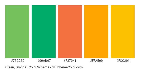 Green, Orange & Gold - Color scheme palette thumbnail - #75C25D #00AB67 #F37041 #FFA500 #FCC201