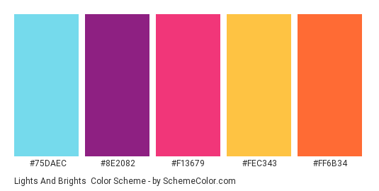 Lights and Brights - Color scheme palette thumbnail - #75DAEC #8E2082 #F13679 #FEC343 #FF6B34