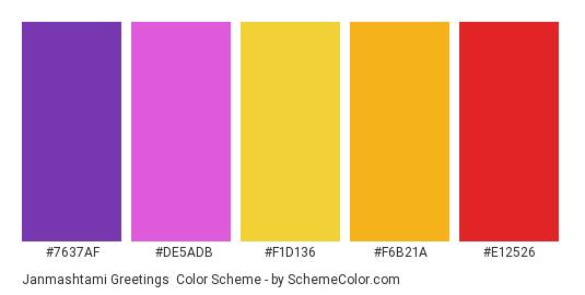 Janmashtami Greetings - Color scheme palette thumbnail - #7637AF #DE5ADB #F1D136 #F6B21A #E12526