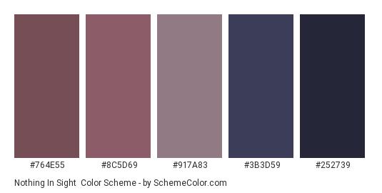 Nothing in Sight - Color scheme palette thumbnail - #764E55 #8C5D69 #917a83 #3B3D59 #252739