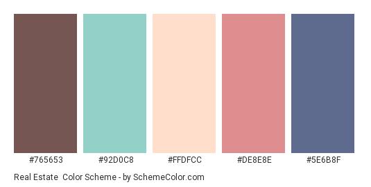Real Estate - Color scheme palette thumbnail - #765653 #92D0C8 #FFDFCC #DE8E8E #5E6B8F
