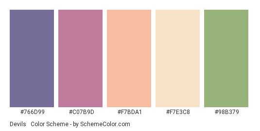 Devils & Angels - Color scheme palette thumbnail - #766D99 #C07B9D #F7BDA1 #F7E3C8 #98B379
