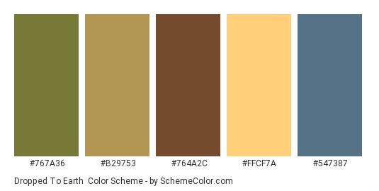 Dropped to Earth - Color scheme palette thumbnail - #767a36 #b29753 #764a2c #ffcf7a #547387