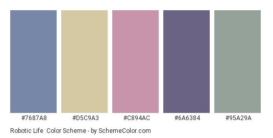 Robotic Life - Color scheme palette thumbnail - #7687a8 #d5c9a3 #c894ac #6a6384 #95a29a