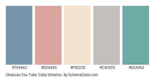 Chances You Take - Color scheme palette thumbnail - #7696ac #dda69c #f3e2cd #c4c0c0 #6ca9a2